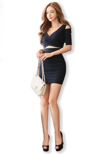Sunnydaysweety blue 2017 Autumn New V Collar Thread Empty Knit Dress UA091904 SU219AA0FUTNSG_1
