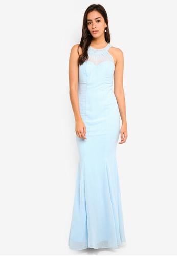 Goddiva blue Embellished Neckline Fishtail Maxi Dress AA579AAC761E8FGS_1