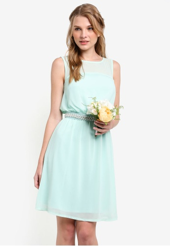 ZALORA green Bridesmaid Embellished Waist Tie Mini Dress 49795AA610859BGS_1