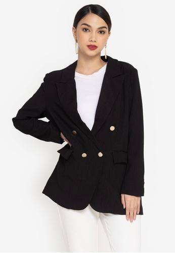 ZALORA OCCASION black Textured Longline Blazer E9504AA1783EEDGS_1