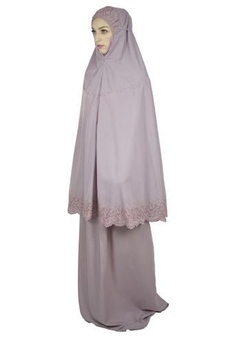 Cantik Butterfly purple Sayida Embroidered Telekung Set (Purple) A3853AA25A6D73GS_1