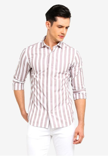 MANGO Man brown Slim-Fit Striped Cotton Shirt 3B867AA3F67578GS_1