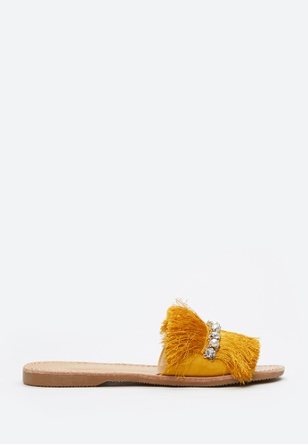 PAZZION yellow Fringe Slide Sandals CEF2BSH0DDA329GS_1