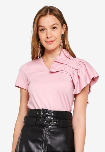 LOST INK pink One Shoulder Frill Top D2009AA41AB815GS_1