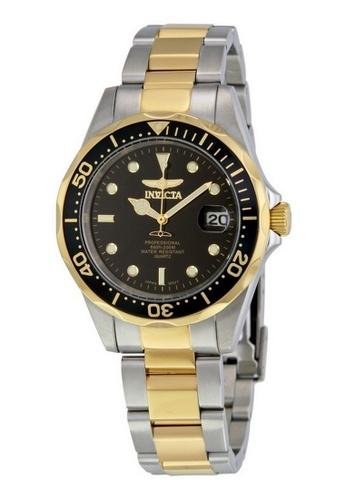 INVICTA gold Invicta Pro Diver Men 38mm Case Steel, Gold Stainless Steel Strap Black Dial Quartz Watch 8934 w/ Cap IN968AC0FNXFSG_1