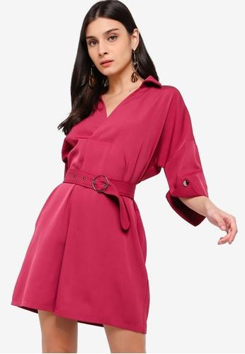 ZALORA purple Overlap Neck Dress 94A83AA288CBA0GS_1