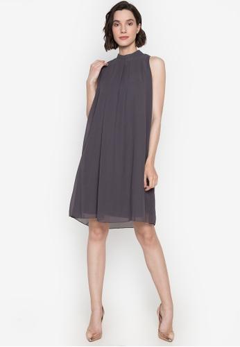 CIGNAL grey Halter Chiffon Dress With Pleated Back B576BAAC721338GS_1