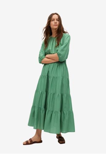 Mango green Frill Cotton Dress 94EADAAE88B30DGS_1
