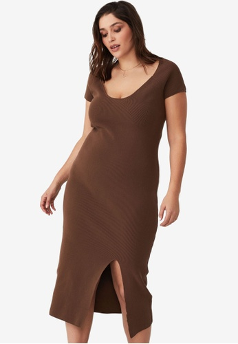 Cotton On brown Curve Sweetheart Midi Rib Knit Dress 44FCCAA3963121GS_1