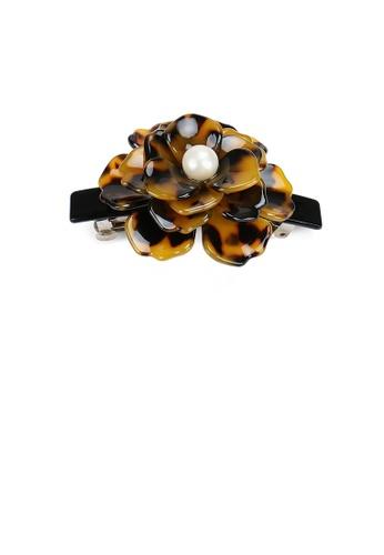 Glamorousky white Fashion and Elegant Tortoiseshell Rose Flower Imitation Pearl Hair Slide 221AFAC20ADCCEGS_1