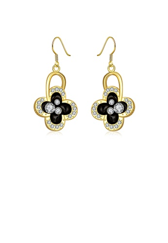 Glamorousky white Fashion Plated Gold Four-leafed Clover Earrings with Austrian Element Crystal 0001DACAD55CC7GS_1