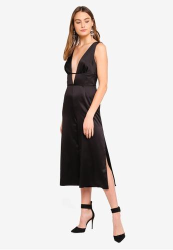 a76d97618f2 Buy Miss Selfridge Black Plunge Cage Jumpsuit Online