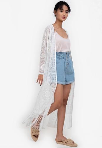ZALORA BASICS white Lace Fringe Kimono Jacket 78336AA5778A93GS_1