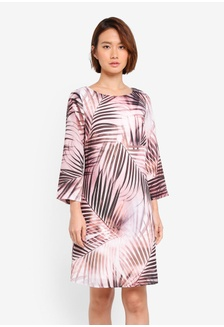 e41d460347b49 Neutral Palm Print Bell Sleeve Shift Dress 8CEE5AAAF86762GS 1 Wallis ...