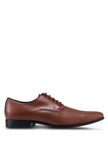 Burton Menswear London brown Tan Leather Formal Lace Up Shoes With Embossed Detailing 552B3SH64C5339GS_1