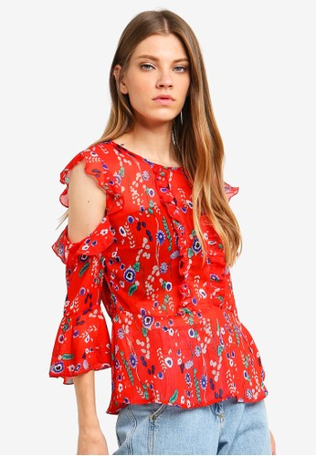 Brave Soul red Cold Shoulder Printed Blouse D6B62AA0360CF5GS_1
