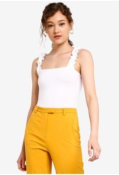 751c2bb864 Miss Selfridge white White Ruffle Strap Bodysuit DB3A3AA7173468GS 1