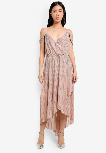 True Decadence pink Flowy Cold Shoulder Dress TR715AA0S2YPMY_1