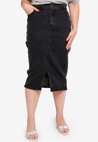 LOST INK PLUS black Plus Size Midi Denim Pencil Skirt 3A03DAAA7CEFE6GS_1