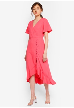 17b5f625b6d Miss Selfridge pink Pink Wrap Midi Dress 9663CAAF09F381GS 1
