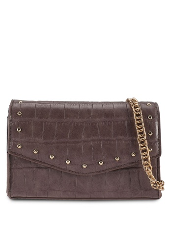 Dorothy Perkins brown Taupe Mini Boxy Studded Cross Body Bag 7F4ACAC796BD91GS_1