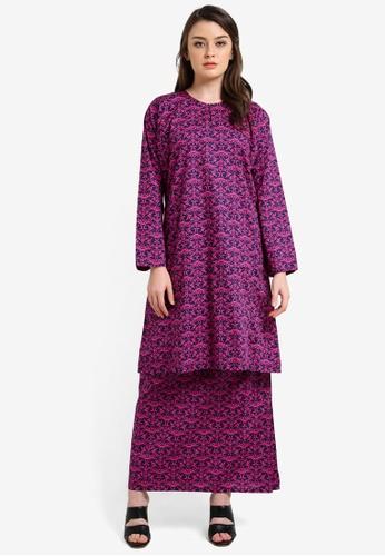 Azka Collection pink and multi and navy English Cotton Baju Kurung AZ019AA0RTSJMY_1