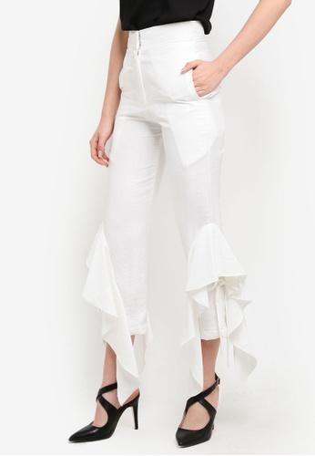 KREE white Blair Frilled Pants KR967AA0RZ6CMY_1