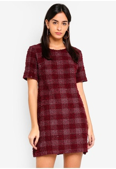 cc308a6a35 Dorothy Perkins red Mulberry Sparkle Check Shift Dress DC043AA8CC0339GS 1