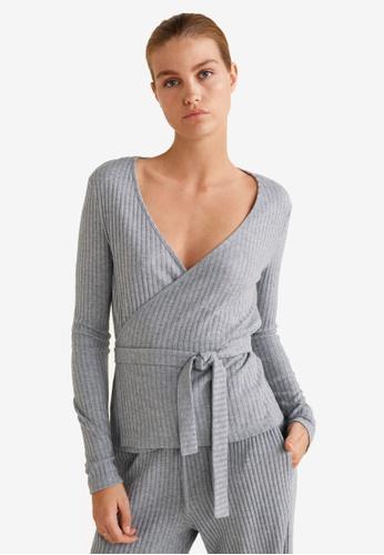 Mango grey Waist Tie Top 20661AA5161F59GS_1