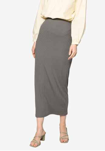 ZALIA BASICS grey Basic Knit Skirt A2853AA2251344GS_1