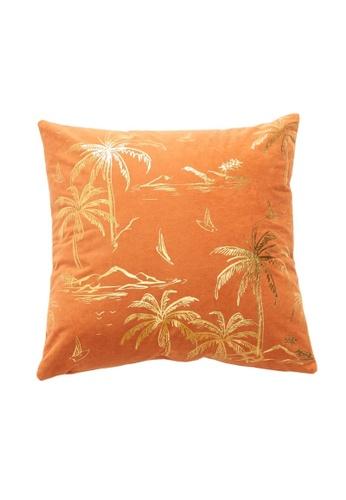 DILAS HOME Palm Tree Gold Print Cushion Cover (Orange) F30D6HLC7117E9GS_1