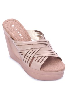 Ave Casual Beige Cross Strappy Slip-on Wedge Sandal