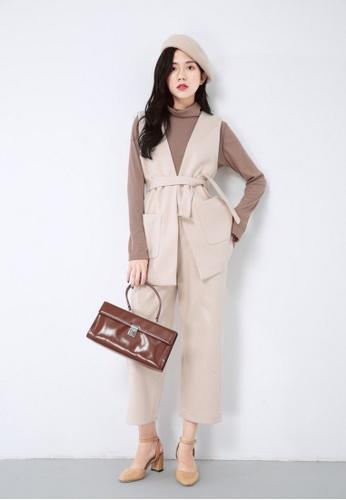LYCKA beige LL10167 Korean Style  Autumn-Winter V-Neck Coat + Slim Pants Two Pieces Set -Beige -S 163BBAA3ADDEB0GS_1