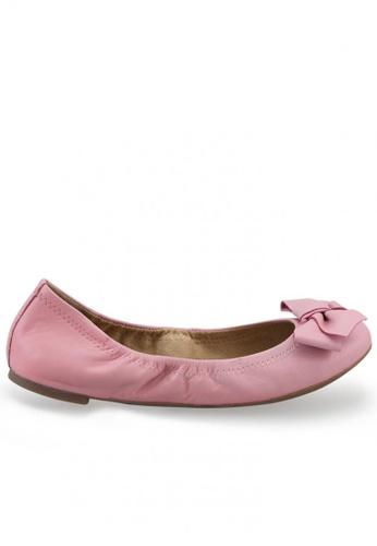 Shu Talk pink Nappa Round Toe Ballet Flats With Bow SH617SH2USD2HK_1