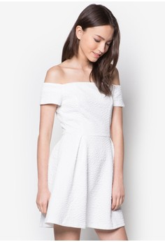 Structure Neckline Fit And Flare Dress