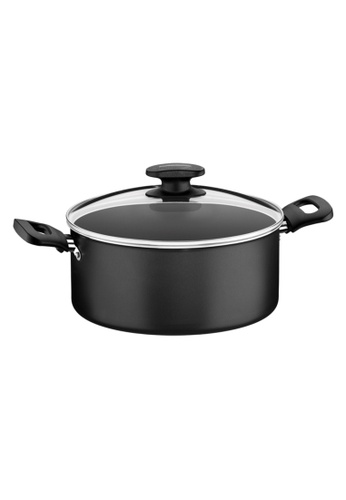Tramontina red Tramontina Non-Stick Casserole with Tempered Glass Lid Loreto 19FD4HLEED37C0GS_1