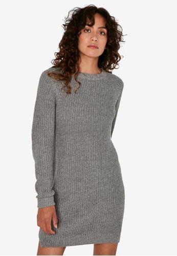 Noisy May grey Siesta Long Sleeves O-Neck Knit Dress ADAD2AAAB070FCGS_1