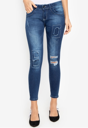 Balaynor blue Distressed Repair Skinny Jeans E902FAA1A865A1GS_1