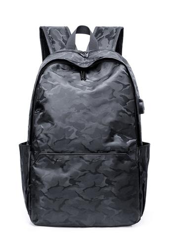 Lara 黑色 男士時尚迷彩背包 - 黑色 AA545AC3D33F1DGS_1