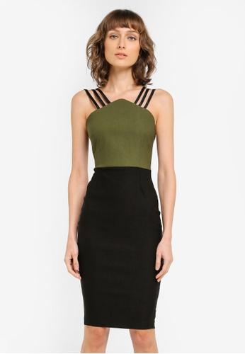 Vesper black and green Taylor Strap Detail Midi Dress VE733AA0SM22MY_1