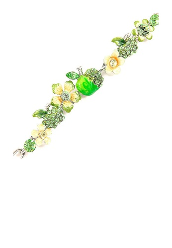 Glamorousky yellow Apple and Flower Bracelet with Yellow and Green Austrian Element Crystals 8A318AC5A08180GS_1