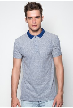 S/S M Polo Tee With Combi on Collar