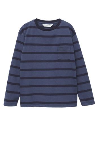 MANGO KIDS blue Striped Long Sleeves T-Shirt 83899KA010E159GS_1