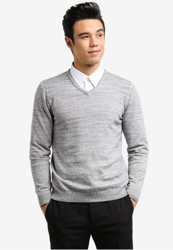 G2000 grey Basic V-Neck Sweater G2754AA0RDIWMY_1