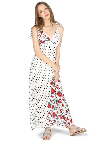 Buy London Rag White Spaghetti Maxi Dress With Black Polka Dot And