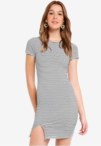 ZALORA BASICS black and white Basic Short Sleeves Bodycon Dress FD718AA3E60F01GS_1