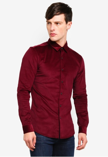 Topman 紅色 燈芯絨修身長袖襯衫 7A268AA258E5F6GS_1