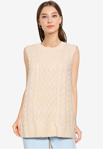 Heather brown Back Ribbon Sweater Vest 41715AA147B523GS_1