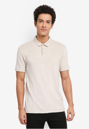 Topman beige Short Sleeve Slim Towelling Polo Shirt 2B573AA5F2DA36GS_1