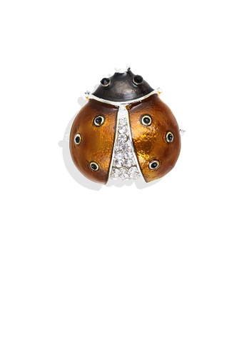 Glamorousky white Fashion Personality Plated Gold Brown Ladybug Brooch with Cubic Zirconia ECDE9AC2DE27BFGS_1